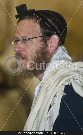 Selichot stock photo, JERUSALEM - SEP 26 : Jewish man prays during the penitential prayers the