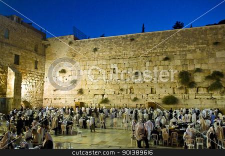 Selichot stock photo, JERUSALEM - SEP 26 : Jewish crowd prays during the penitential prayers the