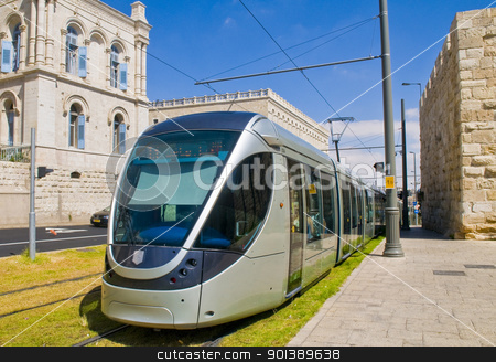 Jerusalem light rail train stock photo, JERUSALEM - OCT 6 : The new modern light rail train crossing the old city of Jerusalem on October 6 2011  by Kobby Dagan