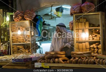 Palestinian bread seller stock photo, JERUSALEM - OCTOBER 06 2011 : Palestinian bread seller in the old city of Jerusalem , Israel by Kobby Dagan