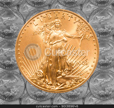 Single Liberty gold coin stock photo, Black and white rendition of Gold Eagle one ounce coins in a patterns and stacked on each row with a single Liberty coin on the top by Steven Heap