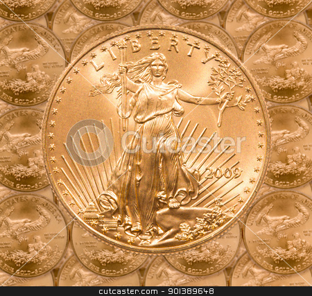 Single Liberty gold coin stock photo, Gold Eagle one ounce coins in a patterns and stacked on each row with a single Liberty coin on the top by Steven Heap