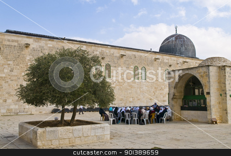 El Aqsa mosque stock photo, JERUSALEM - NOV 03 : Palestinian women seat near