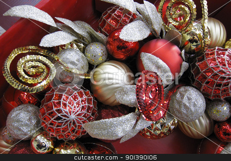 Christmas decoration stock photo, Christmas decoration made up of various shaped balls and ribbons by Christian Delbert