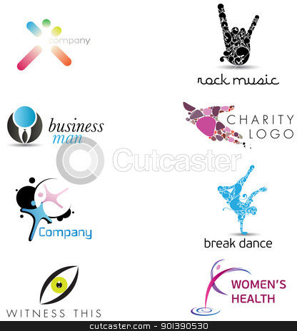 Human Concept Icons stock vector clipart, Very cool and original logo collection with human gestures and body parts by HypnoCreative