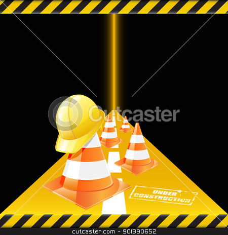 Under construction stock vector clipart, Vector traffic cones  with safety helmet. Under construction  by Vladimir Gladcov