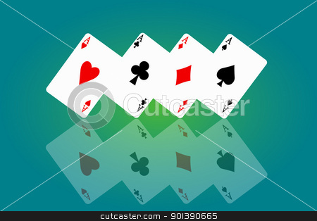 Feeling lucky concept. stock photo, Illustrated four ace cards standing in formation on their corners and reflecting into foreground. Blue and green background blur. by Samantha Craddock