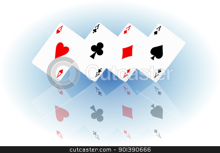 Feeling lucky concept. stock photo, Illustrated four ace cards standing in formation on their corners and reflecting into foreground. White and blue elipse blur background. by Samantha Craddock