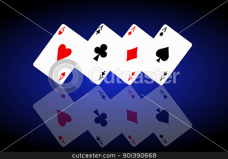 Feeling lucky concept. stock photo, Illustrated four ace cards standing in formation on their corners and reflecting into foreground. Black and blue background. by Samantha Craddock