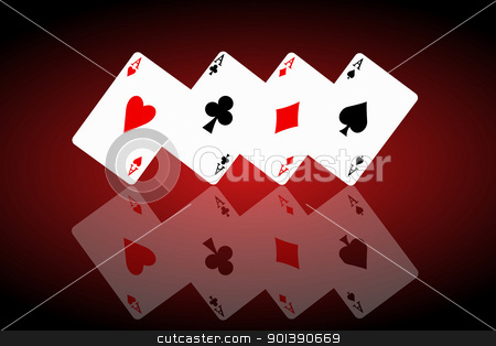Feeling lucky concept. stock photo, Illustrated four ace cards standing in formation on their corners and reflecting into foreground. Black and red background. by Samantha Craddock