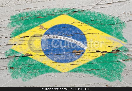 flag of Brazil on grunge wooden texture painted with chalk   stock photo, Chalky brazilian flag painted with color chalk on grunge wooden texture by Vedran Vukoja