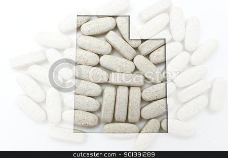 Outline map of utah with transparent pills in the background stock photo, Outlined utah with transparent background of capsules by Vedran Vukoja
