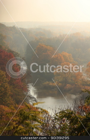 River Lausitzer Neisse stock photo, Autumn landscape with river Lausitzer Neisse and trees by oxygen64