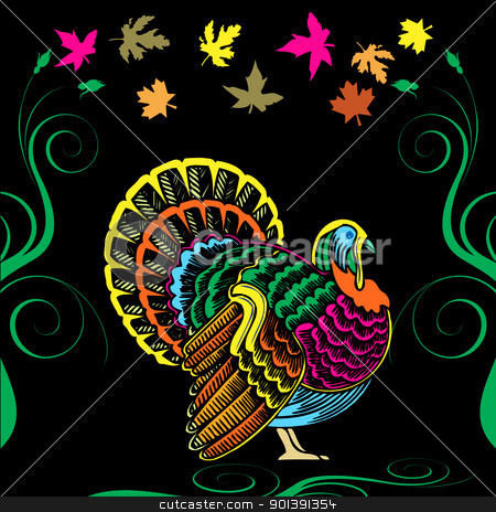 Thanksgiving Turkey Card stock vector clipart, Vector Illustration for Thanksgiving with colorful Turkey and Fall Autumn Leaves. by Basheera Hassanali