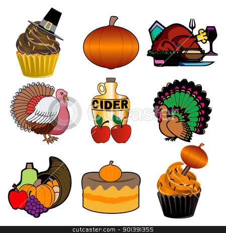 Thanksgiving Icons 3 stock vector clipart, Vector illustration of 9 Thanksgiving, Fall, Autumn Icons. Thanksgiving Icons 3. by Basheera Hassanali