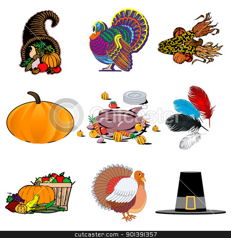 Thanksgiving Icons 1 stock vector clipart, Vector illustration of 9 icons. Thanksgiving Icons 1 by Basheera Hassanali