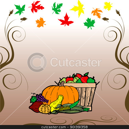 Thanksgiving Fruit Veg Card stock vector clipart, Vector Illustration for Thanksgiving Fruit Vegetable Card and Fall Autumn Leaves. by Basheera Hassanali