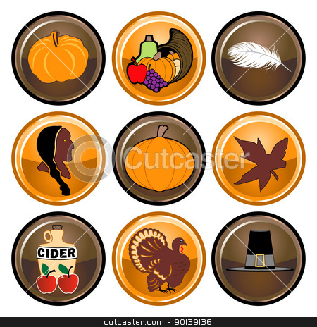 Thanksgiving Buttons stock vector clipart, Vector Illustration of nine brown and orange round Thanksgiving button icons. by Basheera Hassanali