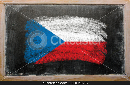 flag of czech on blackboard painted with chalk   stock photo, Chalky czech republic flag painted with color chalk on old blackboard by Vedran Vukoja