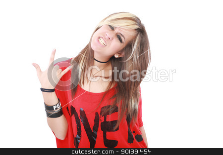 Portrait of a beautiful young female rock singer  stock photo, Portrait of a beautiful young female rock singer 