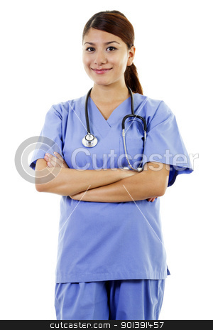 Female healthcare worker stock photo, Female healthcare worker isolated on white background by iodrakon