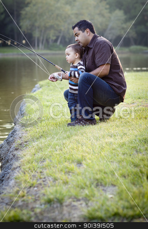 Happy Young Ethnic Father and Son Fishing stock photo, Happy Young Ethnic Father and Son Fishing at the Lake. by Andy Dean