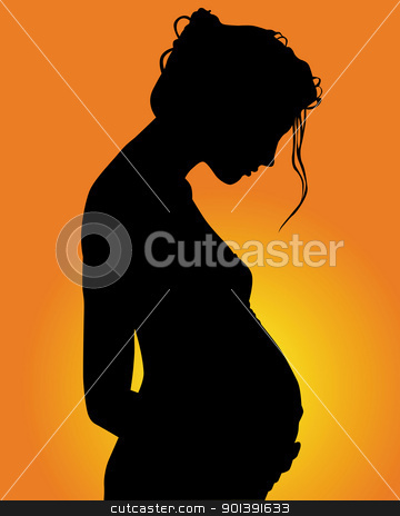 pregnant woman stock vector clipart, silhouette of pregnant woman on green background by Yuriy Mayboroda