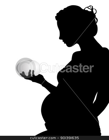 silhouette of a pregnant woman with an egg stock vector clipart, silhouette of a pregnant woman with an egg on a white background by Yuriy Mayboroda