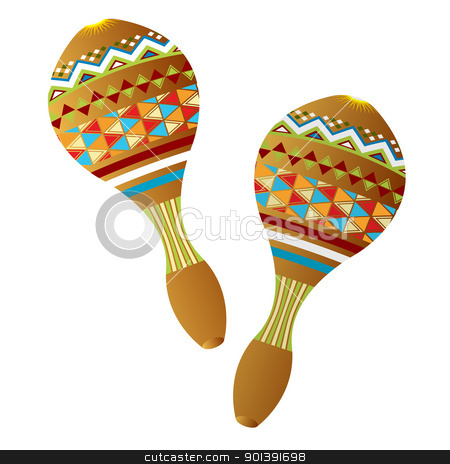 Maracas stock vector clipart, Two wooden maracas instruments on white background by Richard Laschon