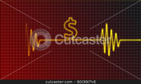 dollar beat stock photo, cardiogram curve with dollar symbol by J?