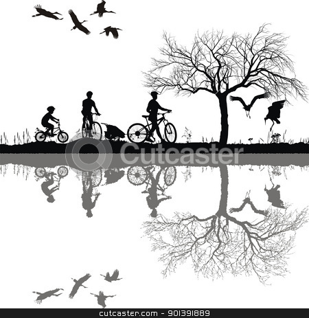 Family cycling on the edge of the lake stock vector clipart, Illustration of a family on bicycles and their reflection in water by Vladim?