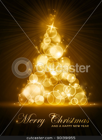 Golden stylised Christmas tree stock vector clipart, Vertical Christmas card with stylized golden glowing Christmas tree made out light dots. EPS10 by Ina Wendrock