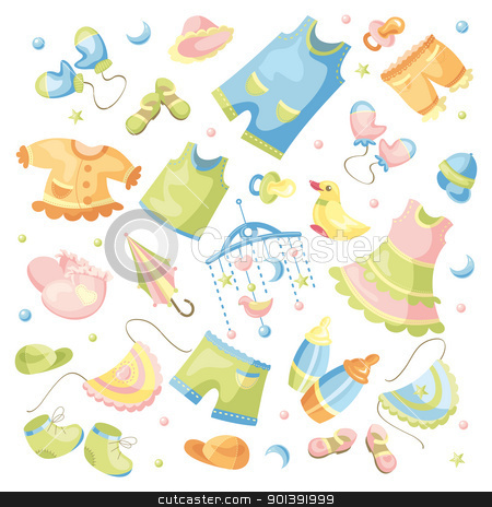 Set Of Baby Clothing Stock Vector Clipart