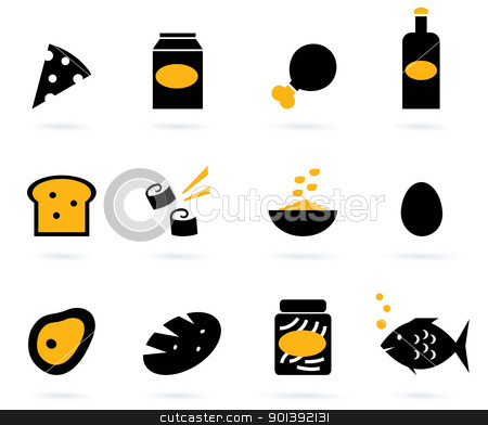 Retro food icons set isolated on white ( black, yellow ) stock vector clipart, 12 food items. Elegant group of various food vector objects.  by Jana Guothova