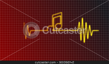 beat of heart stock photo, cardiogram curve with music note symbol - illustration by J?