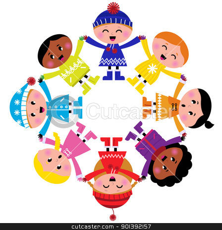 Happy winter cartoon kids in circle isolated on white stock vector clipart, Colorful winter children in group. Vector illustration in retro style.   by Jana Guothova