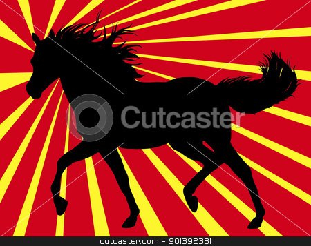 Running Horse stock vector clipart, Running horse with rays in background by Ioana Martalogu