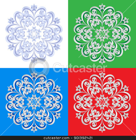 Abstract beautiful snowflakes  stock photo, Abstract beautiful snowflakes on a colorful background illustration designer by dvarg