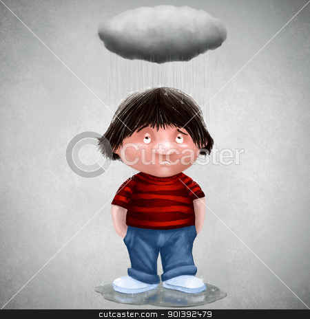 Personal cloud stock photo, Unlucky man with his personal cloud by Giordano Aita