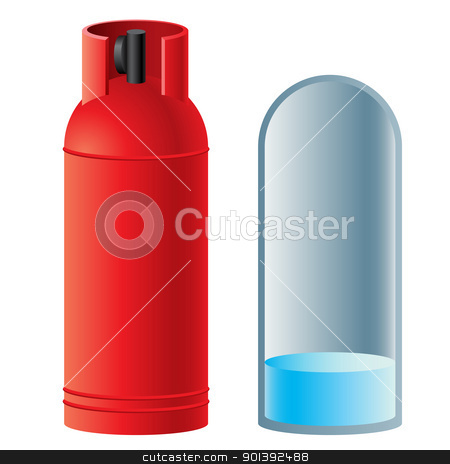 Red butane gas cylinder stock photo, Red butane gas cylinder. Illustration on white background  by dvarg