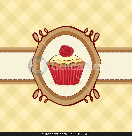 Cupcake Card stock vector clipart, Cupcake card with rose on seamless pattern. by wingedcats