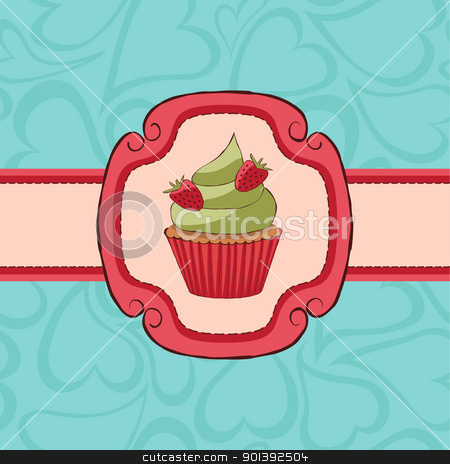 card_cupcake stock vector clipart, Cupcake card with strawberries on seamless pattern. by wingedcats