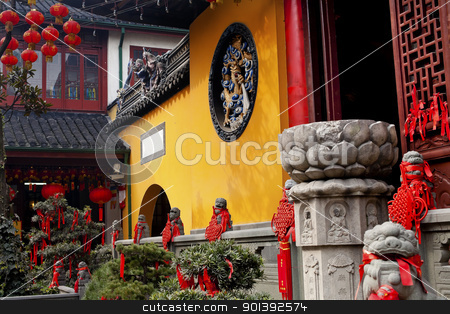 Jade Buddha Temple Doorway Lanterns Ribbons Jufo Si Shanghai Chi stock photo, Jade Buddha Temple Doorway Lanterns Ribbons Jufo Si Shanghai China Most famous buddhist temple in Shanghai  Chinese New Year Decorations by William Perry