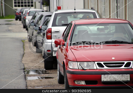 carpark stock photo, row of cars by froggis