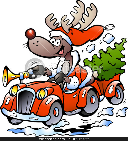 Hand-drawn Vector illustration of an Reindeer Driving Car stock photo, Hand-drawn Vector illustration of an Reindeer Driving Car by DrawShop - Poul Carlsen
