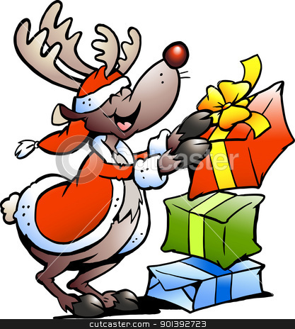 Hand-drawn Vector illustration of an Reindeer with Christmas gifts  stock photo, Hand-drawn Vector illustration of an Reindeer with Christmas gifts  by DrawShop - Poul Carlsen