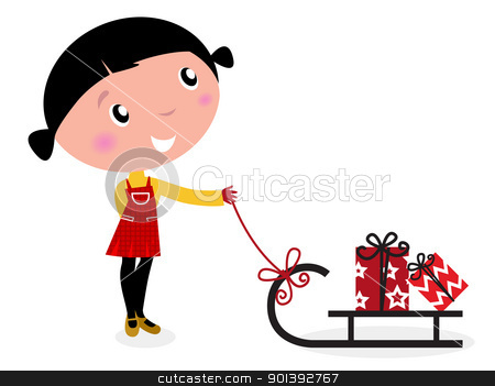 Cute winter child, sledge and christmas presents isolated on whi stock vector clipart, Retro christms Girl with sledge and christmas gifts. Vector cartoon Illustration.  by BEEANDGLOW