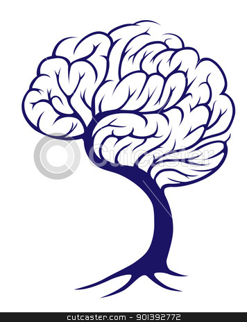 Tree brain stock vector clipart, A tree growing in the shape of a brain by Christos Georghiou