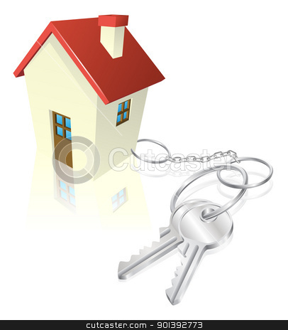 House attached to keys as keyring stock vector clipart, House attached to keys as keyring. Concept for new house purchase, mortgage etc. by Christos Georghiou
