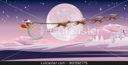 Santa flying in front of winter moon stock vector clipart, Santa's sled flying through the air in front of the moon. by Christos Georghiou